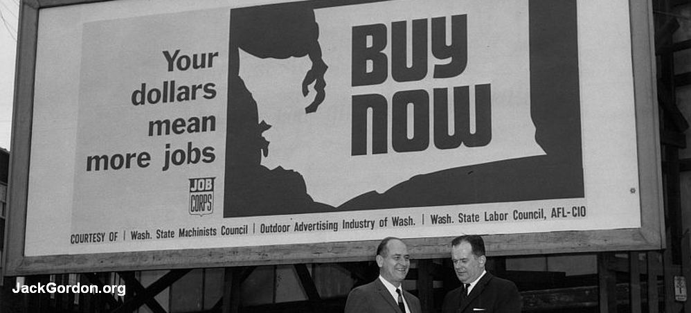 Jack Gordon and Gov. Albert D. Rosellini with Job Corp Billboard
