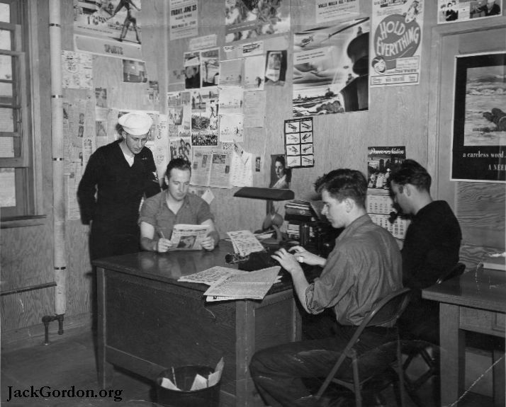 Jack Gordon and other sailors typing at Pasco Naval Air Station, 1944. Picture from JackGordon.org