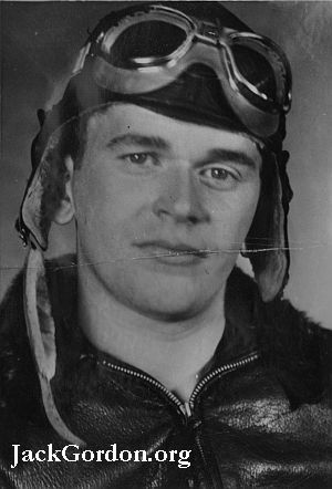 Jack Gordon in WWII Pilots helmet