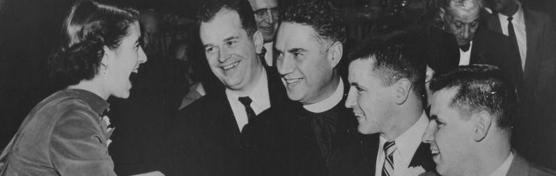 Pat Lesser, Jack Gordon, Fr. Lemieux, and the O'Brien Brothers, 1955